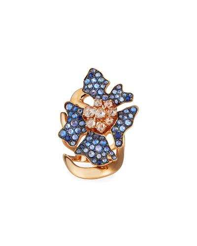 18k Rose Gold Sapphire & Diamond Flower Ring