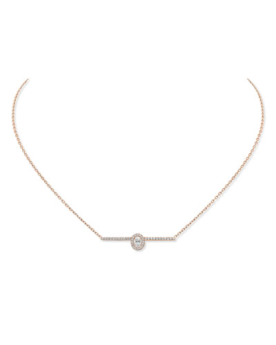 Gatsby 18k Pink Gold Vertical Diamond Bar Necklace