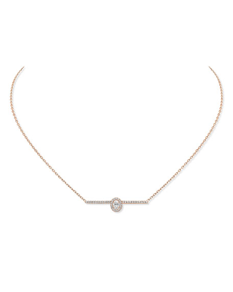 Messika Gatsby 18k Pink Gold Vertical Diamond Bar Necklace