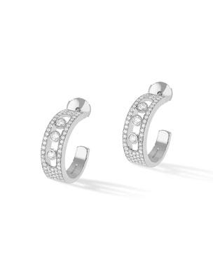46541e76a Messika Move Jo Medium 18k White Gold 3-Diamond & Pave Hoop Earrings