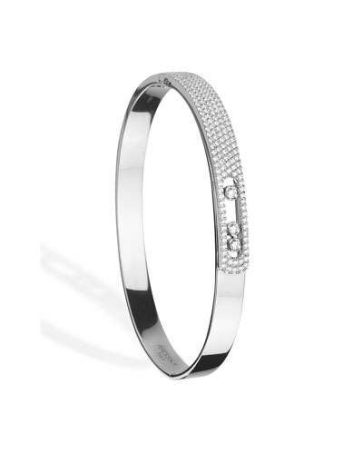 18k White Gold Move Pave & 3-Diamond Bangle  Size M