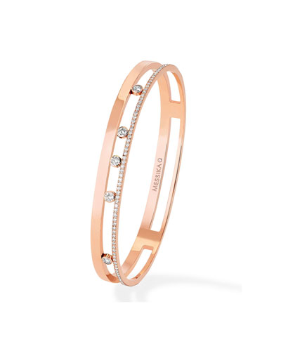 Move Romane 18k Rose Gold 5-Diamond & Pave Bangle  Size L