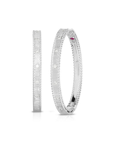 Princess 18k White Gold Diamond Hoop Earrings  30mm