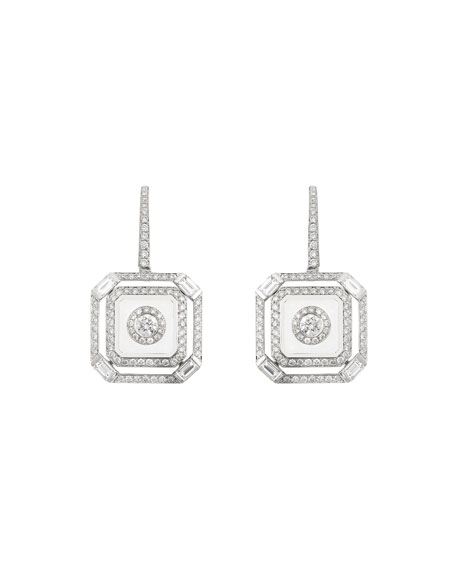 Nikos Koulis Universe Line 18k White Gold Diamond & Enamel Square Drop Earrings