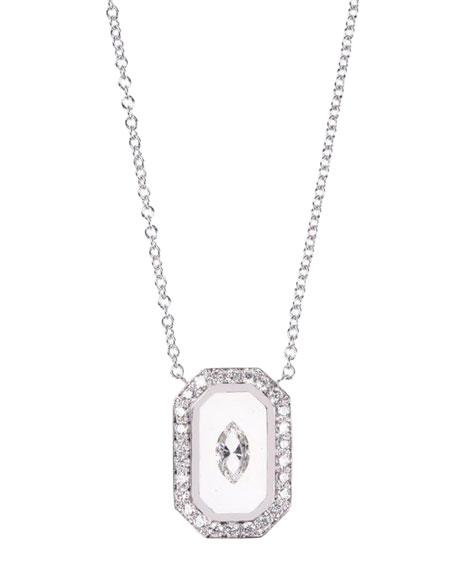 Nikos Koulis Universe Line 18k White Gold Vertical Octagon Necklace w/ Diamonds & Enamel
