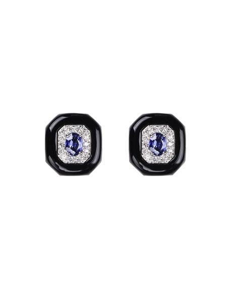 Nikos Koulis Oui 18k White Gold Black Enamel & Sapphire Button Earrings