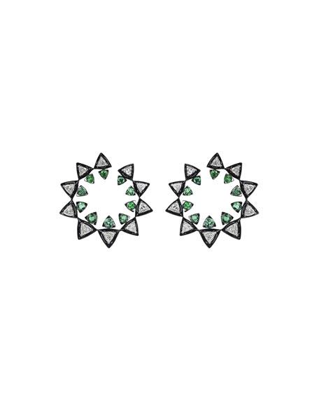 Nikos Koulis V 18k White Gold Diamond Energy Hoop Earrings