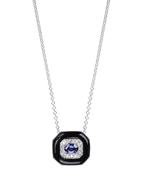 Nikos Koulis Oui 18k White Gold Black Enamel & Sapphire Pendant Necklace