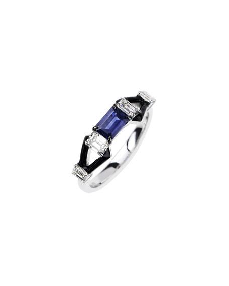 Nikos Koulis Oui 18k White Gold Black Enamel & Sapphire Ring w/ Diamonds, SIze 6.5