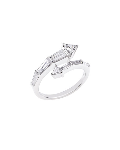 Nikos Koulis Energy 18k White Gold Diamond Bypass Ring