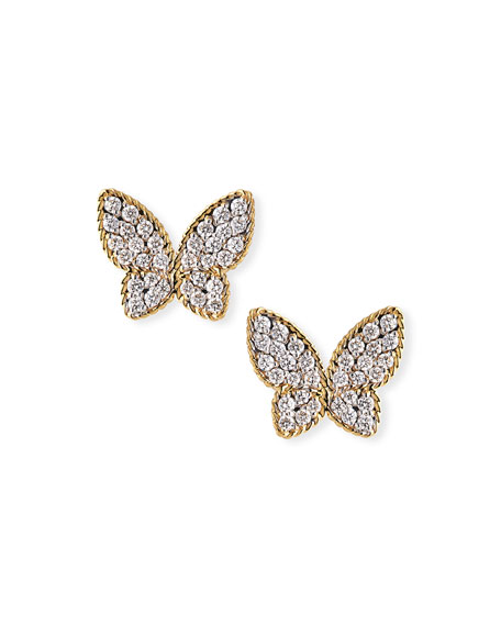 Roberto Coin 18k Diamond Butterfly Stud Earrings