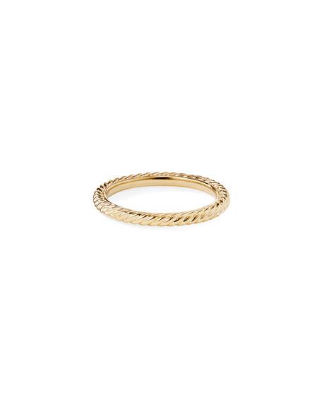 David Yurman 2mm Cabled Stackable 18k Midnight Melange Ring, Size 7