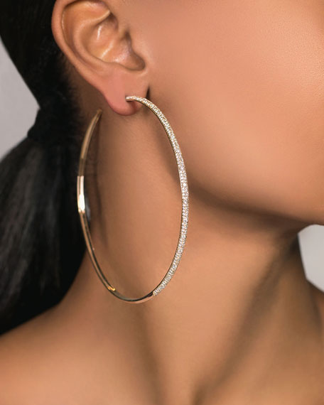 Image 2 of 2: Lana 14k Thin Diamond Cluster Hoop Earrings, 85mm
