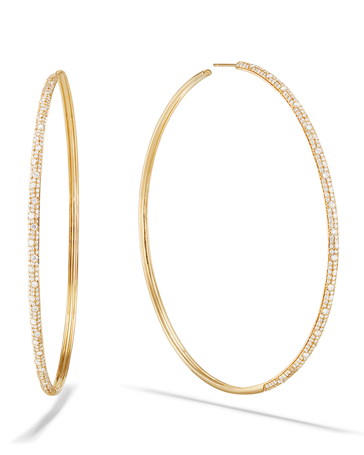 Lana 14k Thin Diamond Cluster Hoop Earrings, 85mm