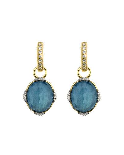 Lisse Triple Diamond Pave Oval Stone Earring Charms