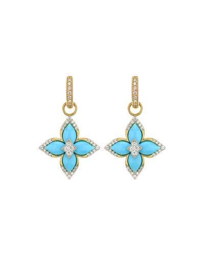Moroccan Flower Earring Charms  Turquoise
