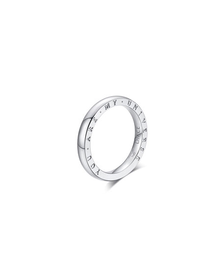 """Alberto Milani Dirce """"You Are My Universe"""" 18k White Gold 2.5mm Band Ring, Size 6.25"""