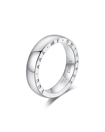 Dirce You Are My Universe 18k White Gold 4.3mm Band Ring  Size 5.25