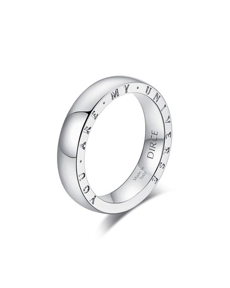 """Alberto Milani Dirce """"You Are My Universe"""" 18k White Gold 4.3mm Band Ring, Size 5.25"""