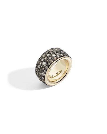 Pomellato Iconica Precious Maxi 18k Rose Gold Brown Diamond Ring, Size 53