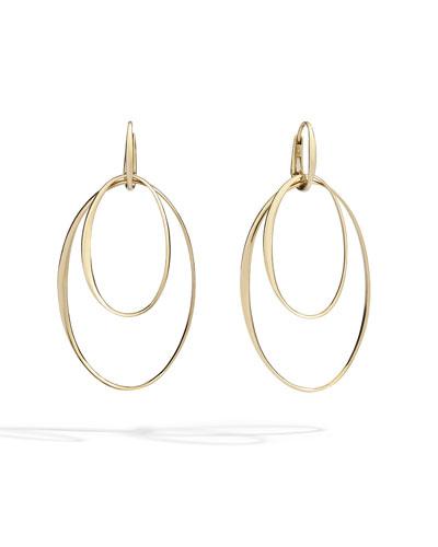 18k Rose Gold Oval Hoop-Drop Earrings