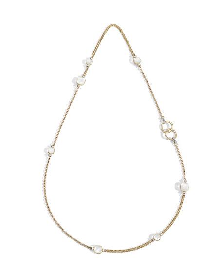Pomellato Nudo 18K White Topaz/Mother-of-Pearl & Diamond Sautoir Necklace