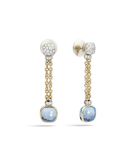 Pomellato Nudo 18K Sky Blue Topaz & Diamond Drop Earrings
