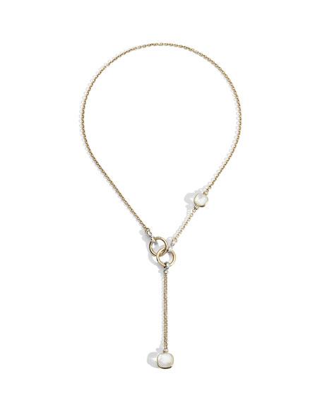 Pomellato Nudo 18K White Topaz/Mother-of-Pearl & Diamond Lariat Necklace