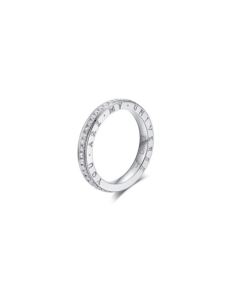 "Alberto Milani DIRCE ""YOU ARE MY UNIVERSE"" 18K WHITE GOLD DIAMOND 2.5MM BAND RING"