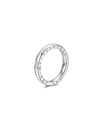 Dirce You Are My Universe 18k White Gold 2.5mm Band Ring w/ Diamond  Size 6