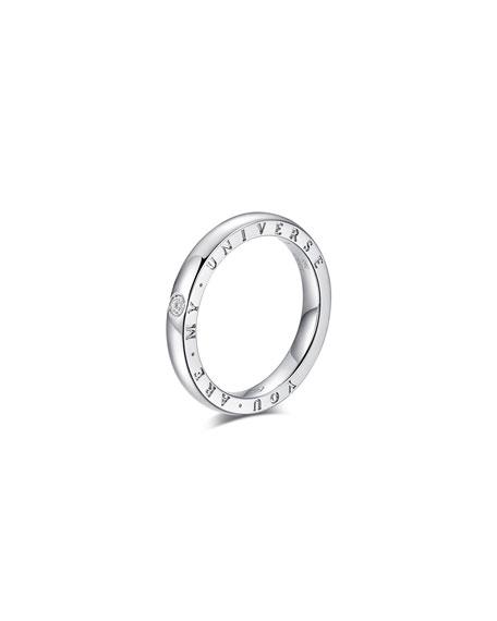 "Alberto Milani Dirce ""You Are My Universe"" 18k White Gold 2.5mm Band Ring w/ Diamond, Size 6"