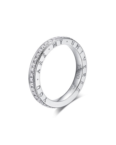 Dirce You Are My Universe 18k White Gold Diamond 2.5mm Band Ring  Size 5.75
