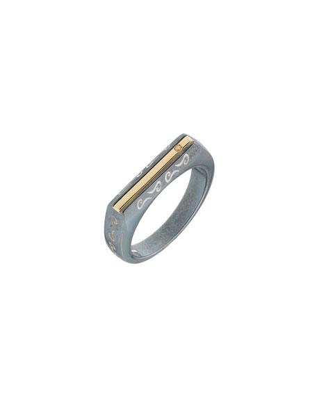 Marco Dal Maso Oxidized Silver & 18K Rose Gold Ring w/ Champagne Diamond, Size 10