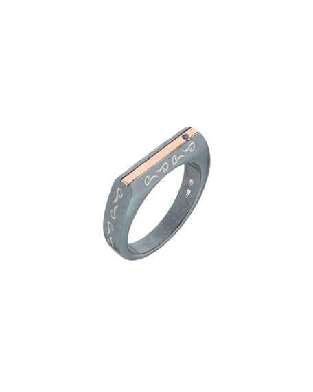 Marco Dal Maso Oxidized Silver & 18K Rose Gold Ring w/ Blue Sapphire, Size 10