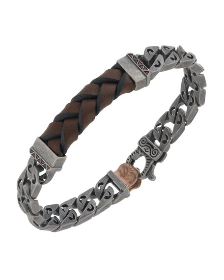 Marco Dal Maso Men's Woven Leather/Silver Chain Bracelet w/ 18k Gold-Plated Clasp, Brown