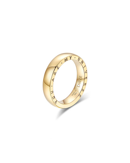 """Alberto Milani Dirce """"You Are My Universe"""" 18k Yellow Gold 4.3mm Band Ring, Size 5.75"""