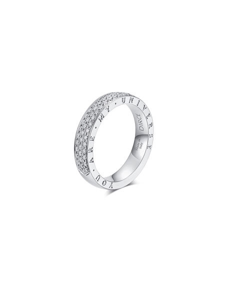 "Alberto Milani DIRCE ""YOU ARE MY UNIVERSE"" 18K WHITE GOLD DIAMOND 4.3MM BAND RING"