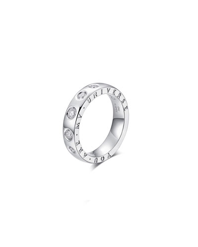 Dirce You Are My Universe 18k White Gold 5-Diamond 4.3mm Band Ring  Size 6.25