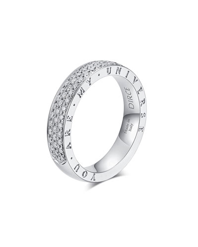 Dirce You Are My Universe 18k White Gold Diamond 4.3mm Band Ring  Size 6