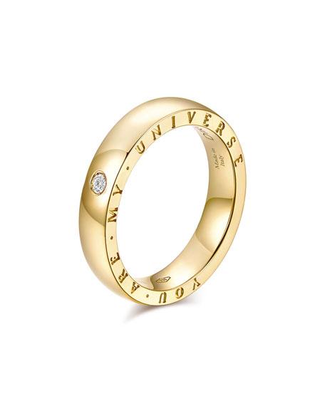 "Alberto Milani DIRCE ""YOU ARE MY UNIVERSE"" 18K YELLOW GOLD 4.3MM BAND RING W/ DIAMOND"