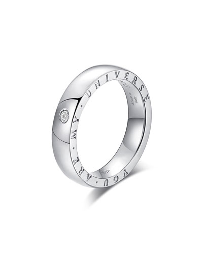 Dirce You Are My Universe 18k White Gold 4.3mm Band Ring w/ Diamond  Size 5.75