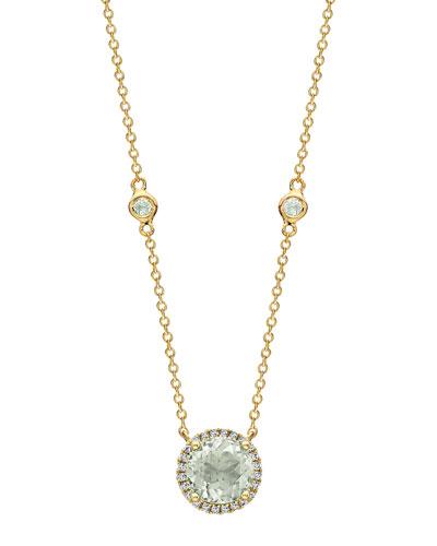 Grace 18k Green Amethyst & Diamond Halo Necklace