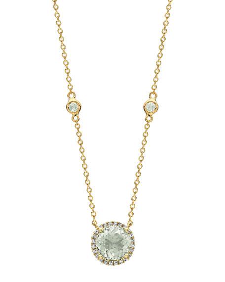 Kiki McDonough Grace 18k Green Amethyst & Diamond Halo Necklace
