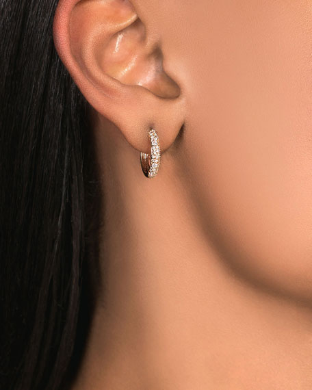 Image 2 of 2: Lana 14k Thin Diamond Cluster Hoop Earrings, 15mm