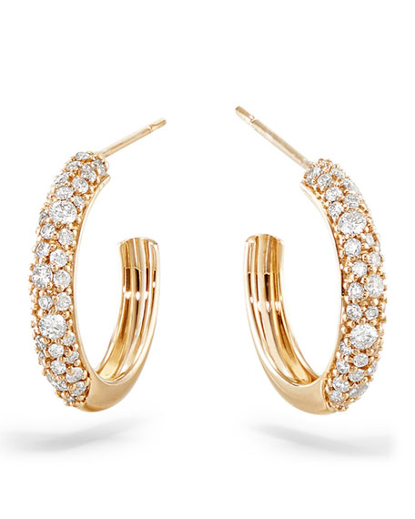Image 1 of 2: Lana 14k Thin Diamond Cluster Hoop Earrings, 15mm