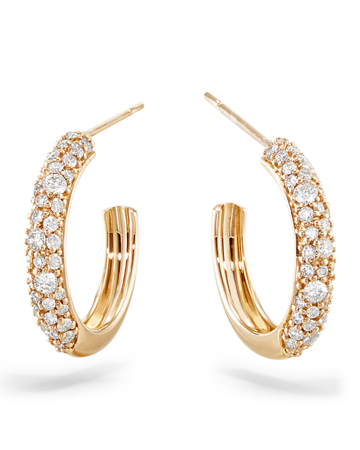 Lana 14k Thin Diamond Cluster Hoop Earrings, 15mm