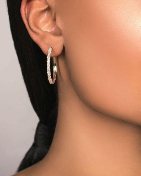 LANA 14k Thin Diamond Cluster Hoop Earrings, 30mm