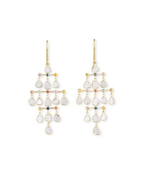 Legend Amrapali Polki 18k Diamond-Slice & Mixed Sapphire Chandelier Earrings
