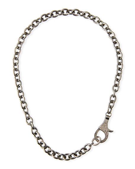 "Margo Morrison Chain Necklace w/ Diamond Clasp, 18""L"