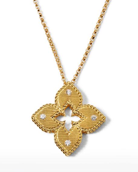 Roberto Coin Venetian Princess 18k Diamond Open Flower Necklace